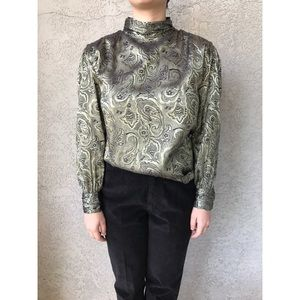 [vintage] high neck bishop sleeve metallic blouse